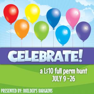 Celebrate! A L$10 full perm hunt.  July 9-26